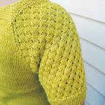 Candy er designet og strikket av happy silkegarn et et tråds silkegarn fra Happy Knitting. Her ser vi mønsteret på ermene.