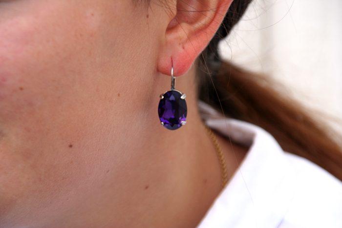 Pees-Swarovski-element-oredobber,-purple-velvet-dame-happyknitting