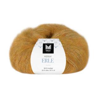 Bildet viser strikkegarnet Kidsilk Erle fra Dalegarn her i fargen 9056 gulmelert.