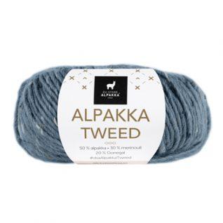 Alpakka tweed fra Du Store Alpakka fargen heter 102-mørk-grå. Garnet har banderole rundt.
