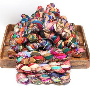 Recycle sari border ribbon garn.