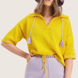 Strikkepakken inneholder mønster og garn fra Skappel strikk og Ida Broen til Solsikke-genser i gult Frisk garn