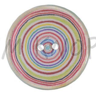 Jim Knopf plastknapp viser et fargerike sirkler.